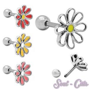Trendiger Edelstahl Piercing Fakeplugs Blume – Bild 1