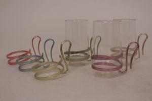 Teegläser Trinkglas Halter Set Aluminium Griff Becher Glas Alu vintage bunt 50er