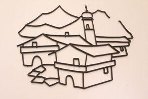 Wandbild Wanddeko Wandaufhängung Bild Kirche Dorf Berge Ort 50er Jahre