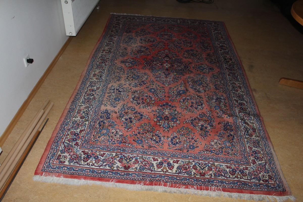 original antiker sarough teppich 275x160cm l ufer farbenfroh bunt vintage carpet ebay. Black Bedroom Furniture Sets. Home Design Ideas