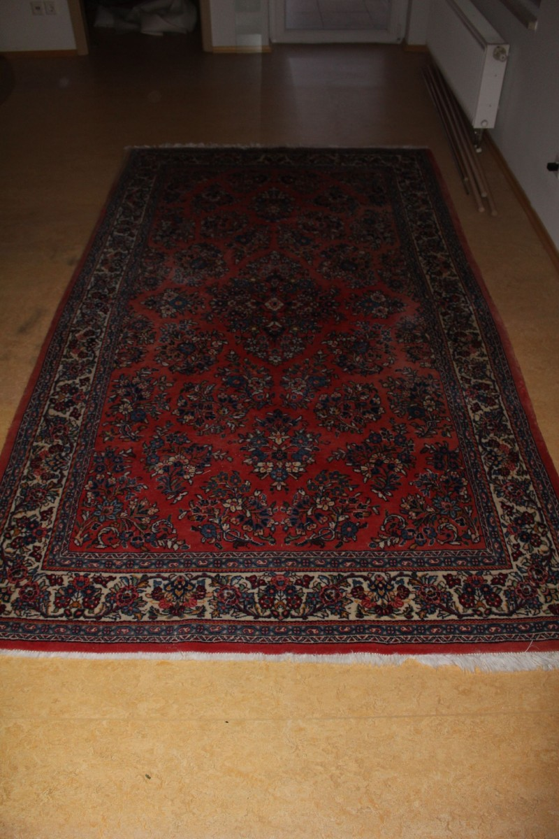 original antiker sarough teppich 275x160cm l ufer farbenfroh bunt vintage carpet ebay. Black Bedroom Furniture Sets. Home Design Ideas