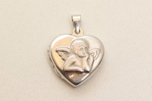 Wunderschöner Anhänger Kettenanhänger Amulett mit Engel Gravur S&J Silber 925