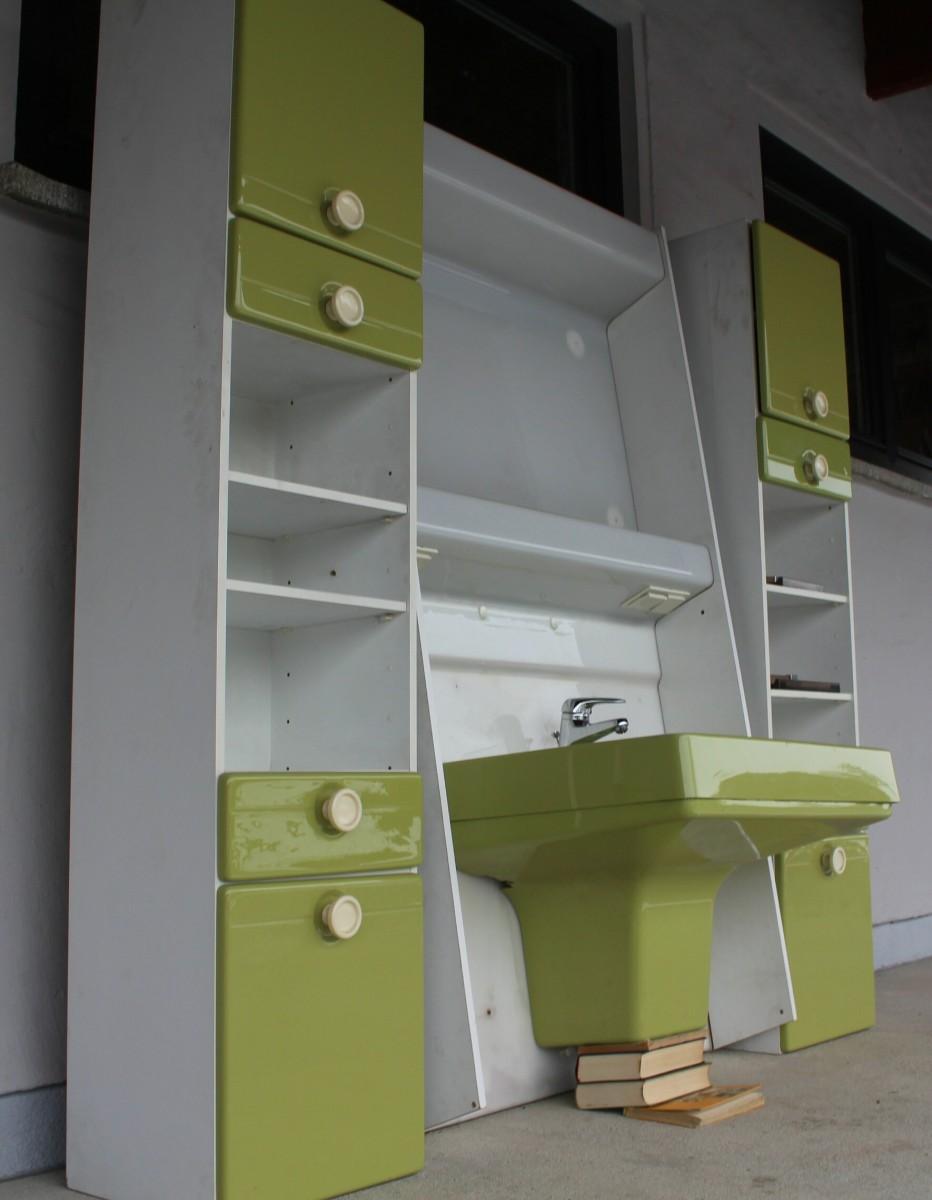 Badm bel waschbecken badschrank badezimmer einrichtung for Badezimmer 70er