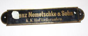 antikes Schild Klavierbauer Piano KlavierFranz Nemetschke Sohn K.K. Hoflieferant