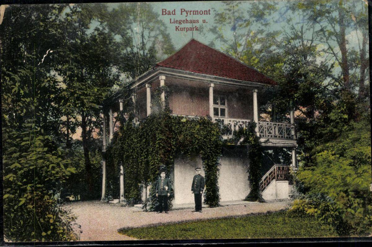 Postcard Pk Bad Pyrmont Liegehaus Spa Park Lithography ...