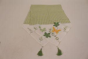 Tischläufer Tischdecke 50 x 160 cm grün kariert Blumen