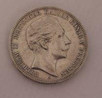 3 Mark A 1908 900 Silber Wilhelm II. Dt. Kaiser König v Preussen Deutsches Reich