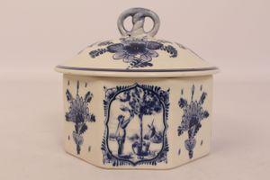 Delfts Regina Holland Deckeldose Vorratsdose 8eckig Keramik handbemalt