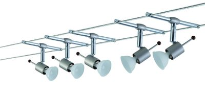 975.66 Paulmann Seil Komplett Set Wire System Sheela 105 5x20W GU5,3 Nickel satiniert 230/12V 105VA Metall