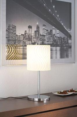 Paulmann Living Carvu Tischleuchte 1x25W Energiesparlampe E27 Chrom/Opal/Satin 230V Metall/Glas