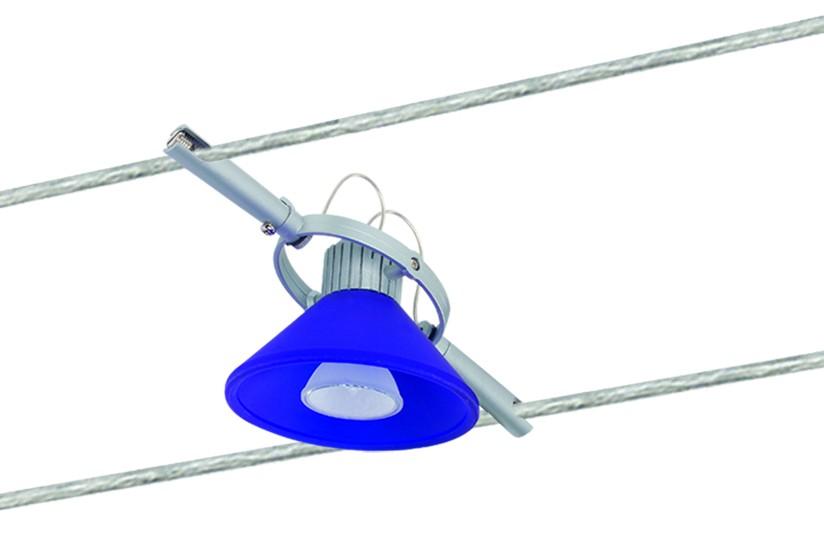Paulmann Seil Zubehör 7040 Wire System Light&Easy Spot Verre blau 1x35W GU4 Titan/Blau 12V Metall/Glas