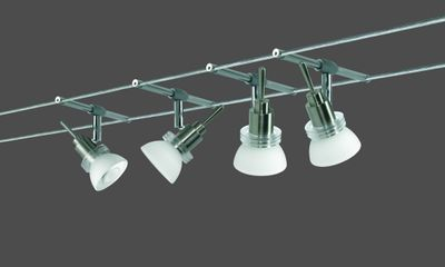 971.11 Paulmann Seil Komplett Set Wire System Verbier 150 4x35W GU4 Eisen gebürstet/Opal 230/12V 150VA Metall/Glas
