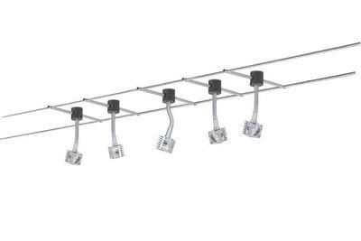 978.64 Paulmann Wire System GEO Q-Flex 5x3W 12m Chrom matt 230/12V 60VA Me