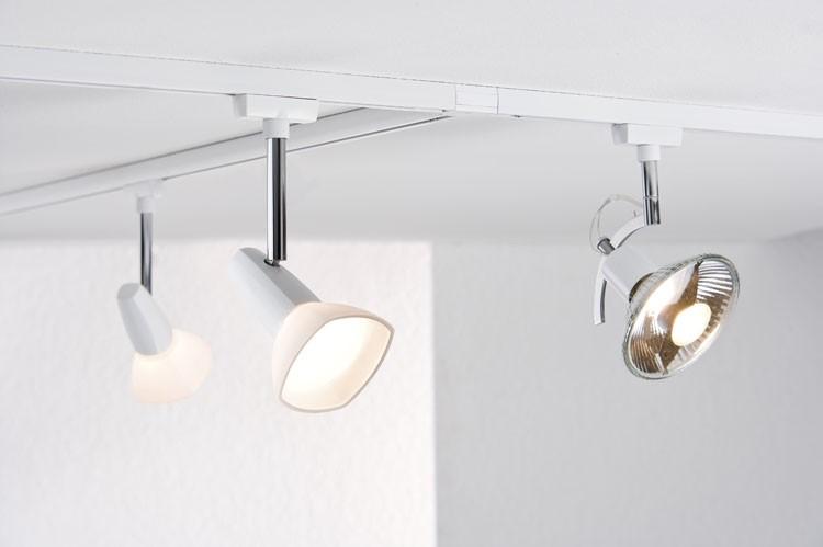Paulmann U-Rail Einzelteile 97693 URail System Light&Easy Spot Barelli 1x40W GZ10 Weiß/Opal 230V Metall/Glas