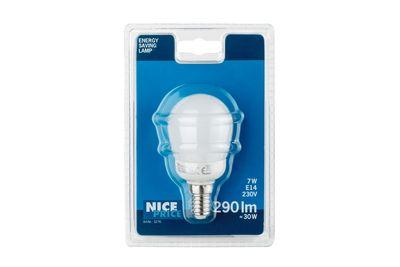 Nice Price Energiesparlampe Tropfen 7W E14 Warmweiß