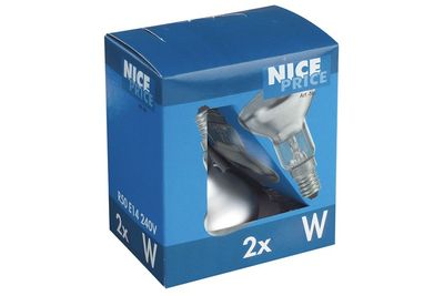 3850 Nice Price E14 Fassung NP Reflektorlampe 2er Pack 2x25W E14 Silber