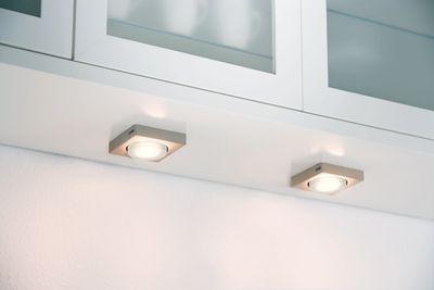 Paulmann Möbel Aufbauleuchte Set eckig Energiesparlampe Disc 3x9W 230V GX53 75mm Eisen gebürstet/Metall