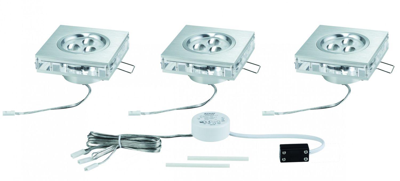 Paulmann Einbauleuchten 92539 Premium EBL Set Liro eckig LED 3x3W 350mA 9VA 85x85mm Alu geb./Klar