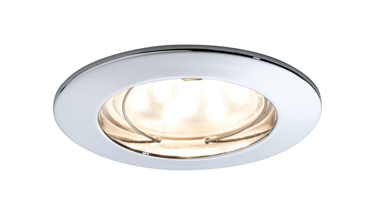 Paulmann Einbauleuchten 92759 Premium EBL Set Coin klar rund starr LED 3x6,8W 2700K 230V 51mm Chrom/Alu Zink