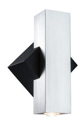 ABL Set 2Flame LED 2x3,2W 230V IP44 eckig Schwarz/Alu gebürstest Alu