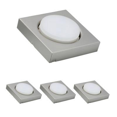 3x LED Möbelleuchten Möbel ABL eckig Disc 7W 3000K 230V GX53 Eisen gebürstet/Metall