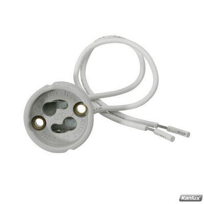 GU10 Sockel 230V, Fassung, Anschlussockel, Keramiksockel GU 10 / GZ10 für 230 Volt mit Kabel (für LED oder Halogen)