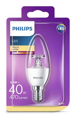 Philips 8718696454770 E14 LED Kerzenform Leuchtmittel 5,5W ~ 40W