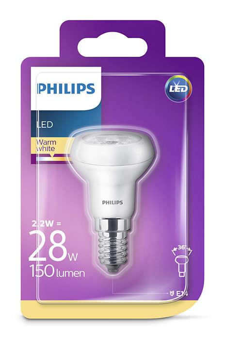 8718696578377 Philips Reflektor mit Drehsockel, 2,2 W (30 W), E14, warmweiß, nicht dimmbar, Reflektor