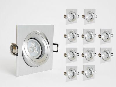 Dimmbare LED Einbauleuchten Set 10x4W GU10 Einbaustrahler inkl. GU10 Sockel Warm Weiss 3000K