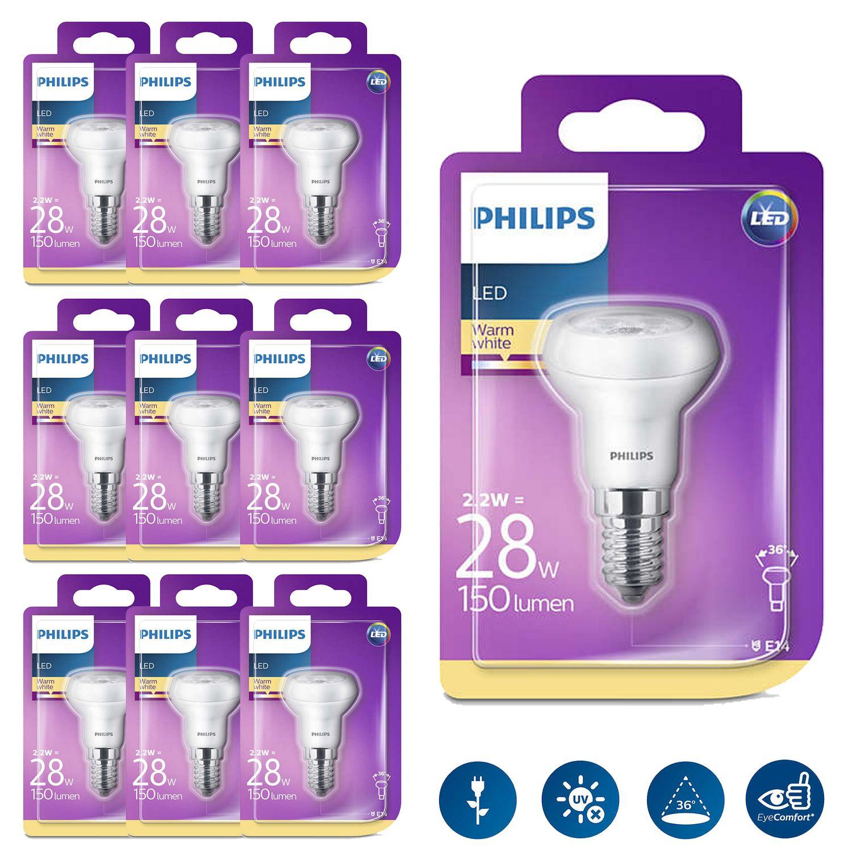 10er Set Reflektor Philips 8718696578377 Reflektor mit Drehsockel, 2,2 W (28 W), E14, warmweiß, nicht dimmbar