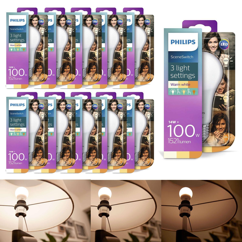 10er Set LED Leuchtmittel, Philips, 14-7-3,5 W (100 W), E27, Warm/sehr warm/extrawarm, 8718696706794
