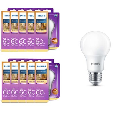10x 8718696706916 Philips LED Leuchte 8,5 W (60 W), E27, WarmGlow, Kolbenform, dimmbar