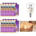 10er Set dimmbares Leuchtmittel 8718696453568 Philips in Tropfenform mit Drehsockel, 6W (40W), E14, warmweiß