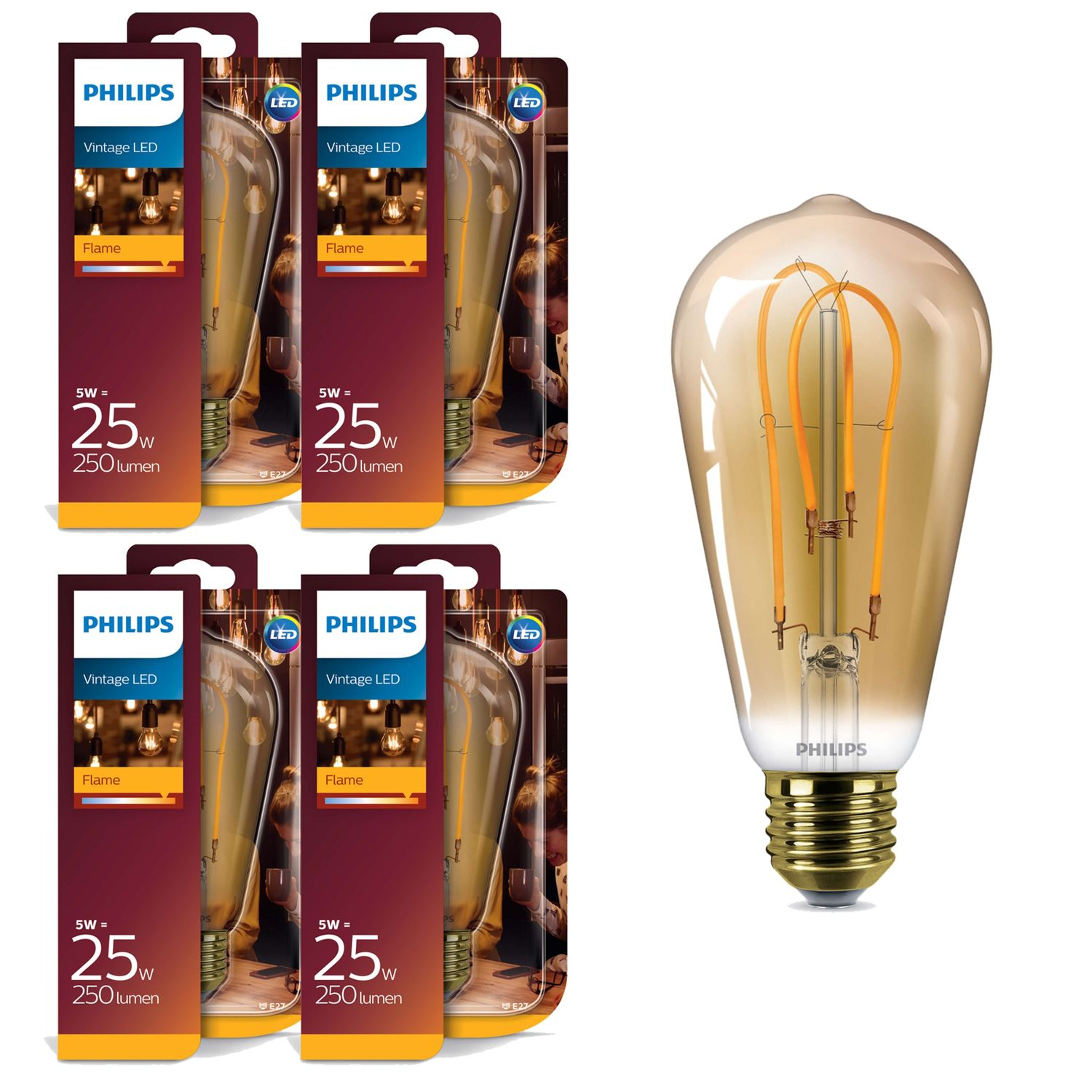 4x Philips 8718696743058 E27 Vintage LED Leuchtmittel 5W (25W) 2000k Flame 250Lm 001