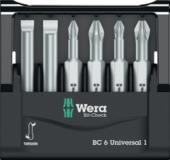 WERA Bit Sortiment Mini-Check 50 mm 6tlg.Bits 50mm lang Schlitz PH PZD in Kunststoffbox  5056474001 Bild 2