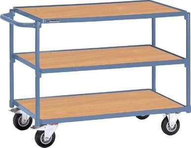 Tischwagen 3 Ladeflächen Bügel gerade Trgf.250kg L850xB500mm PROMAT RAL 5014