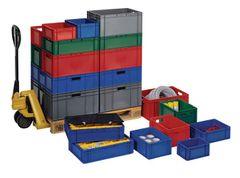 Transportstapelkasten PP rot L400xB300xH75mm Wände/Boden geschlossen