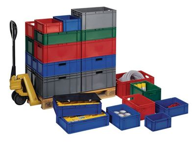 Transportstapelkasten PP grün L600xB400xH75mm Wände/Boden geschlossen