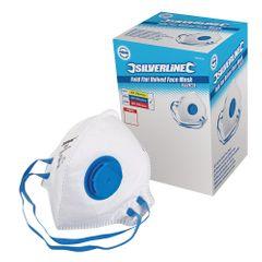 Silverline FFP-2-NR-Atemschutzmaske mit Ventil, flach gefaltet, Verkaufsdisplay, 25er-Pack. FFP-2-NR