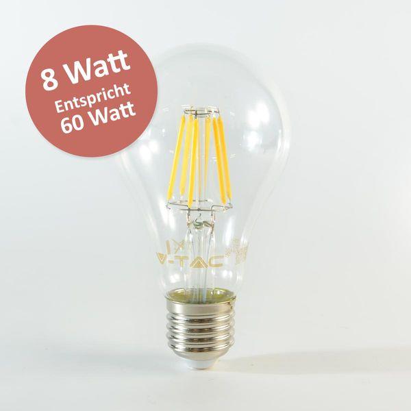 LED Birne Filament E27 A67 8W Tageslichtweiss 800lm 300°