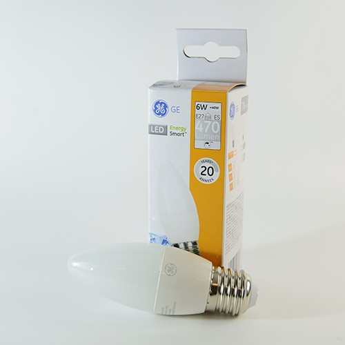GE Energy Smart LED Kerze E27 6W dimmbar Warmweiss 2700K 470lm 270°