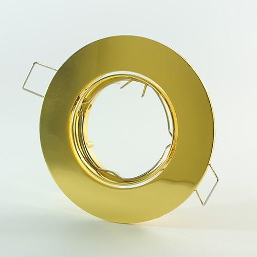 LED Einbauspot Gehäuse rund schwenkbar für GU10 & GU5.3 in Aluminium Gold