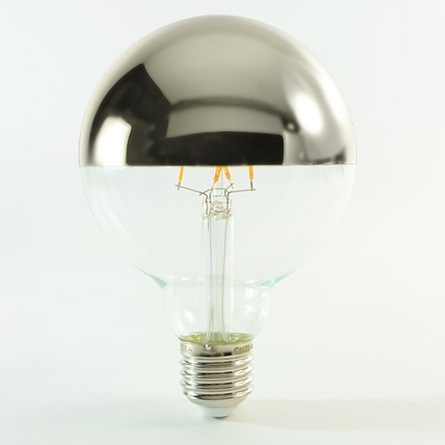 LED Birne Filament mit Spiegelkopf E27 G95 4W dimmbar Warmweiss 280lm Silber