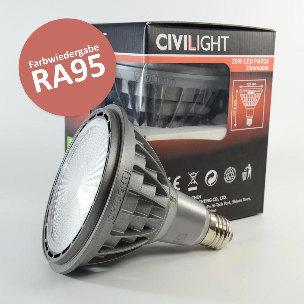 LED Birne E27 PAR38 20W dimmbar Warmweiss 1'150lm 40° Ra95