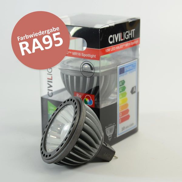 LED Spot Haled95 GU5.3 12VDC 10W dimmbar Warmweiss (3000K) 500lm 36° Ra95
