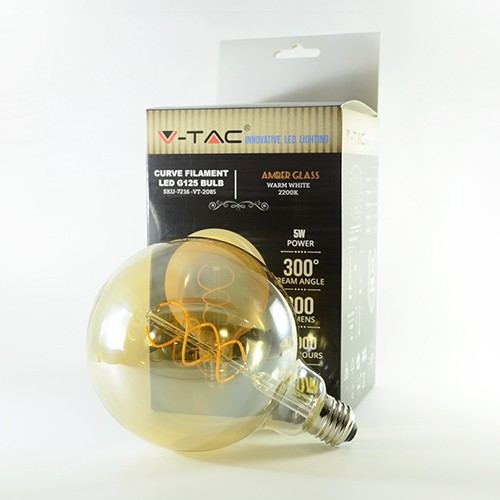 LED Birne Filament Curve Rustikal Gold E27 G125 5W Warmweiss 300lm 300°