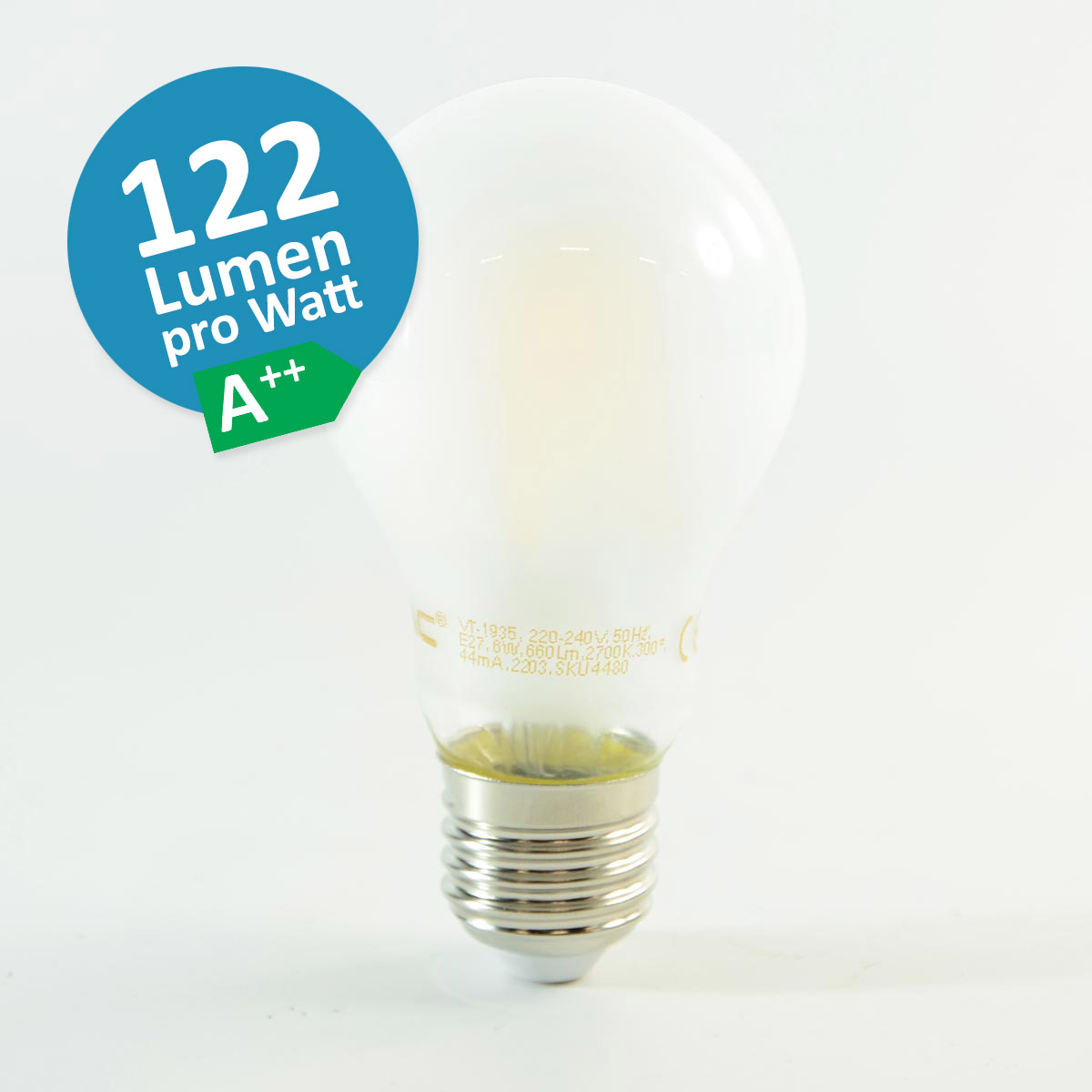 LED Birne Filament E27 A67 9W Warmweiss 1'100lm 300° satiniert A++