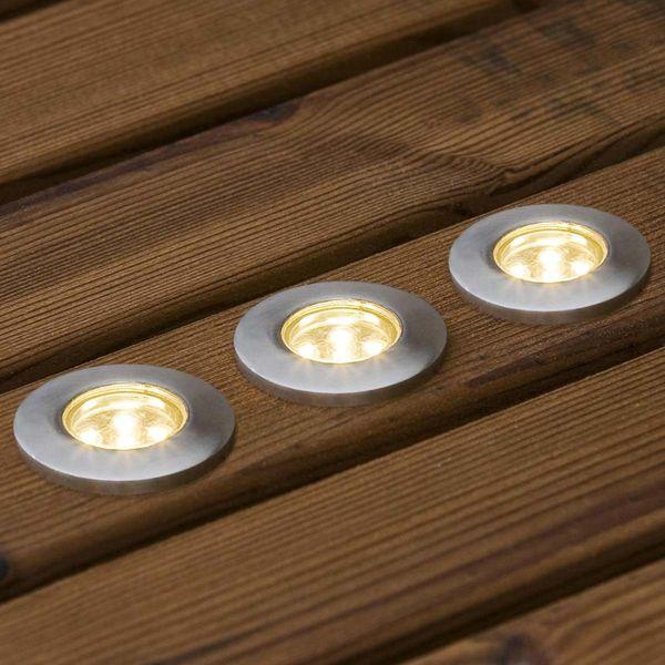 LED Bodenspot Erweiterungsset 3-Teilig Edelstahl Warmweiss IP44 3W 15lm 220V
