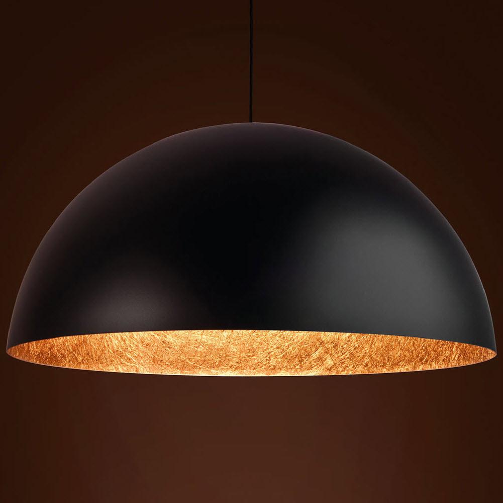 pendelleuchte sfera 90 e27 stahl fiberglas schwarz kupfer. Black Bedroom Furniture Sets. Home Design Ideas