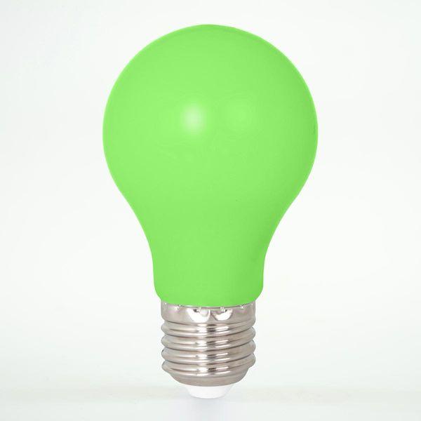 LED Birne aus Kunststoff E27 A60 1W Grün 12lm